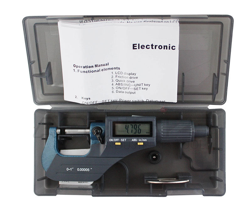 "5pcs/set  0-5""x.00005"" 2-Key Electronic Digital Micrometers,"