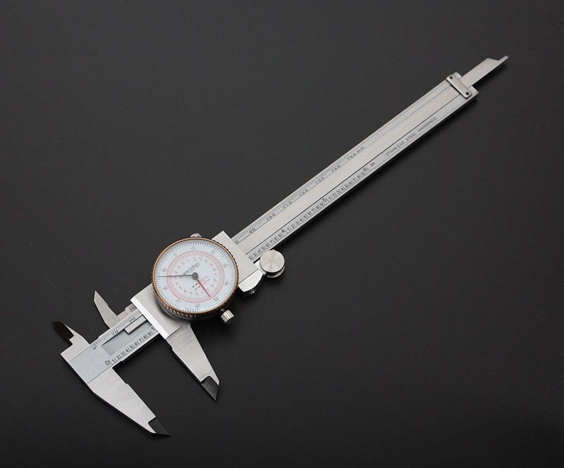 Dual Needle Precision Inch/Metric Dial Caliper, Stainless Steel