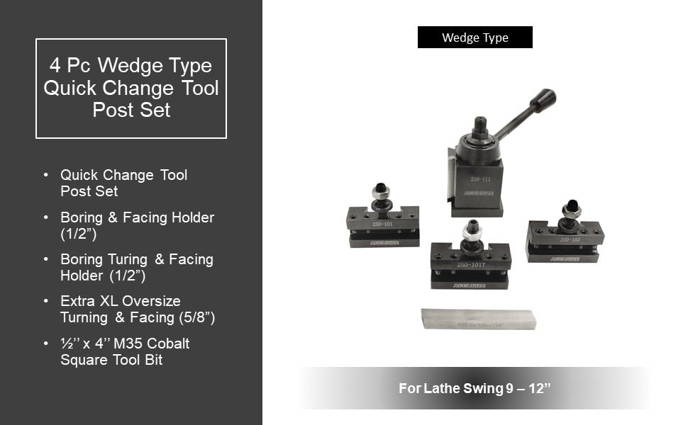 4 Pc Wedge Type Quick Change Tool Post Set for Lathe Swing 6'' - 12'' with 1/2'' M35 Square Lathe Bit, 0251-0155
