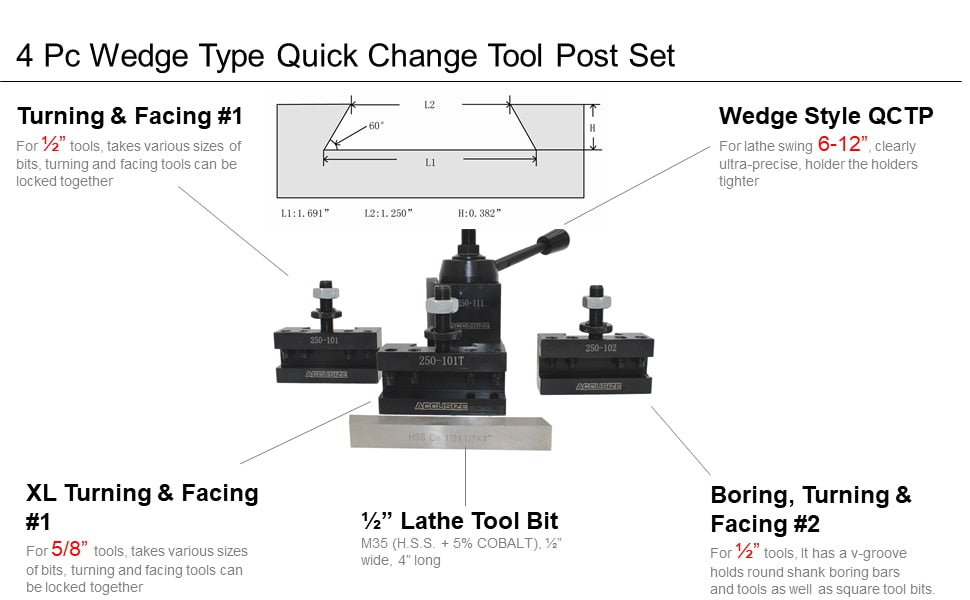Features of 4 Pc Wedge Type Quick Change Tool Post Set for Lathe Swing 6'' - 12'' with 1/2'' M35 Square Lathe Bit, 0251-0155…