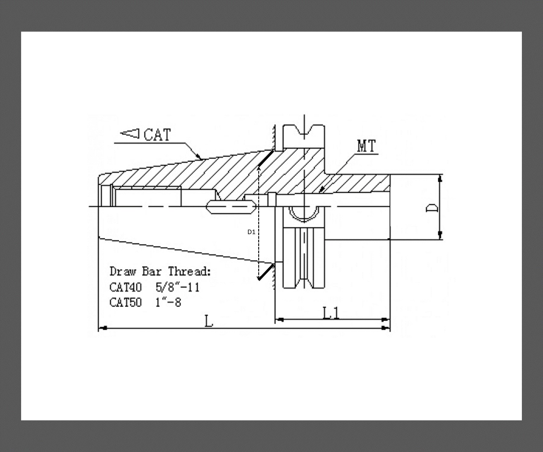 CATERPILLAR V-FLANGE TO MORSE TAPER ADAPTOR SCHEMA