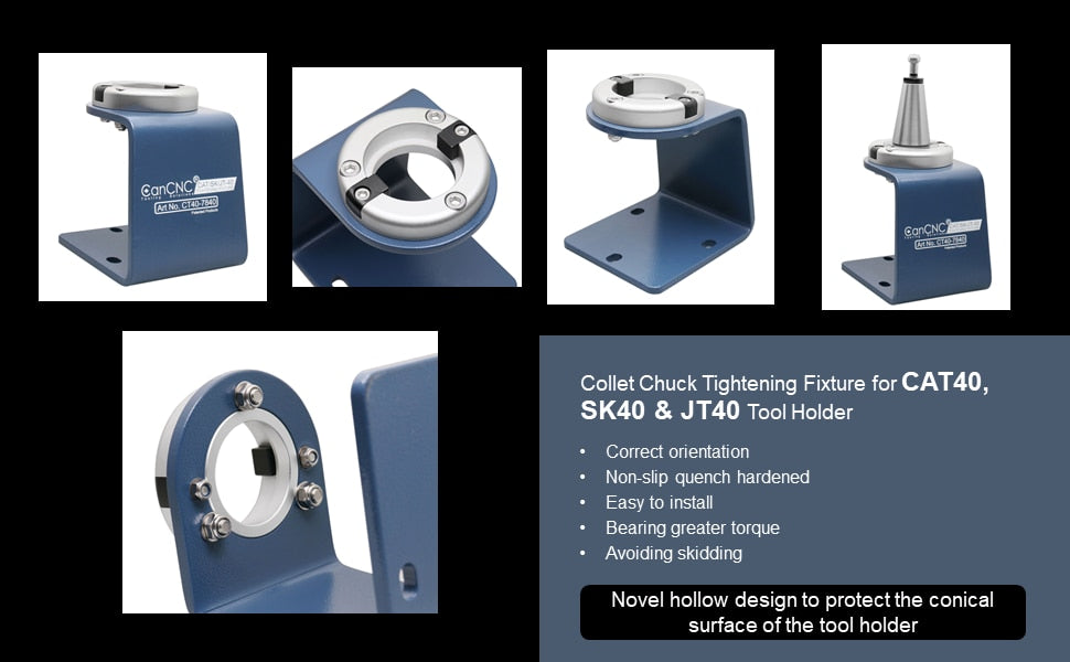 CAT40 Collet Chuck Tightening Fixture Fit CAT40 Tool Holder as well as SK40 and JT40 Holder, CT40-7840