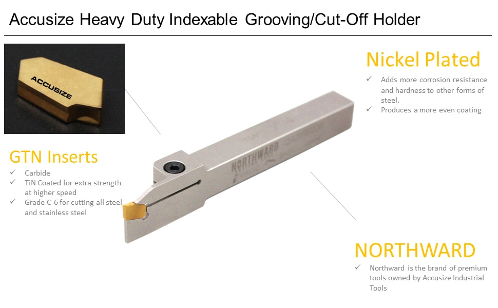 Heavy-Duty Indexable Grooving Cut-Off Holder with Extra 10 Carbide TiN Coated GTN Insert Bundle, Right Hand 2415 B