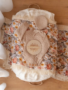 Peach Floral Swaddle with Natural Fringe