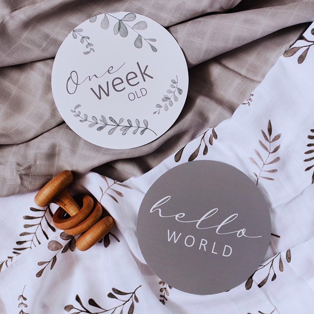 Wild Fern and Grey Reversible Milestone Cards
