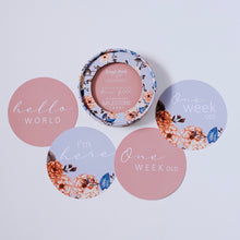 Load image into Gallery viewer, Vintage Blossom and Rose Gold Reversible Milestone Cards
