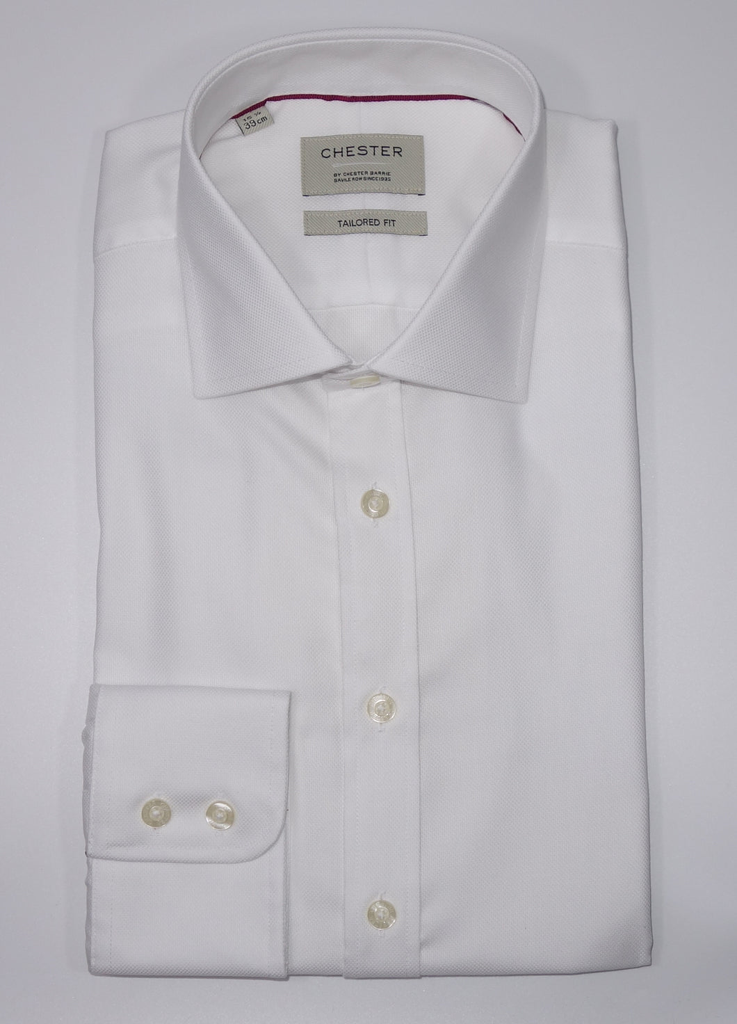 Chester Barrie Tailored Fit 100% Cotton White Royal Oxford