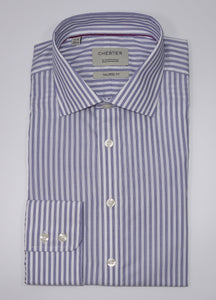 Chester Barrie Tailored Fit 100% Cotton Blue Bengal Stripe