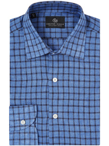 Chester Barrie, Linen Check Shirt, Blue