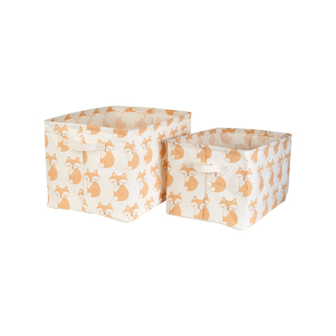 Fox Canvas Storage Boxes (Set of 2) - KMHomeware