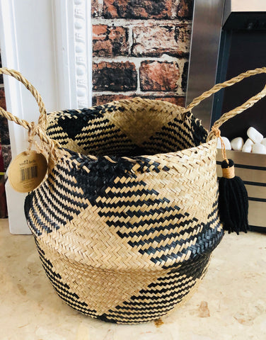 Black Tribal Tassel Storage Basket - KMHomeware
