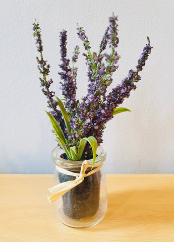 Vase Artificial Lavender Glass Pot - KMHomeware