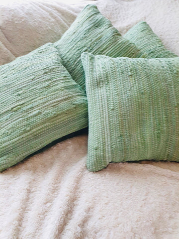 Cushion Green Chindi Rag Style - KMHomeware
