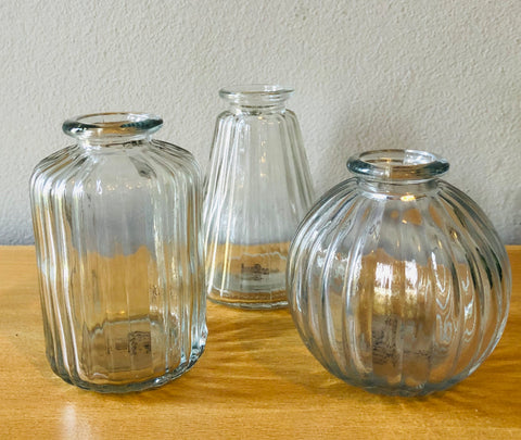 Plain Glass Bud Vases - Set of 3 - KMHomeware