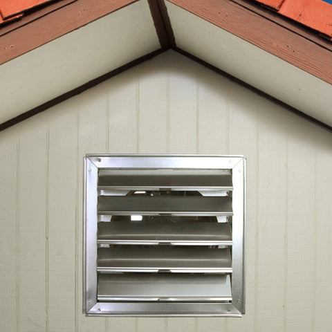 Gable shutter installed in the outside wall of a home.