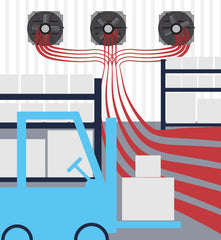 Keeping exhaust fans running in a warehouse while employees work creates a constant flow of air in your building.
