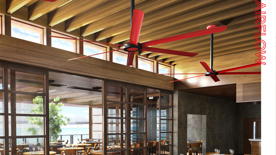 The HVLS 108 is a 108 inch diameter ceiling fan available in a wide variety of finishes. The red unit here evenly distributes air in a restaurant dining room to keep customers' dining experience refreshing with a quiet, energy efficient DC motor.