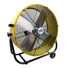 24 in. yellow commercial tilt fan constructed with a heavy-duty powder coated steel drum.