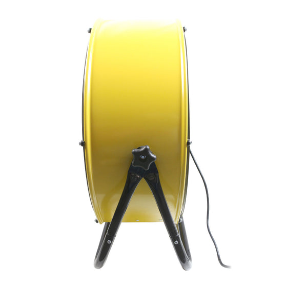 Right side view of the 24 in. yellow barrel fan showing the easy to use tilt adjustment knobs and sturdy, heavy duty cradle base.
