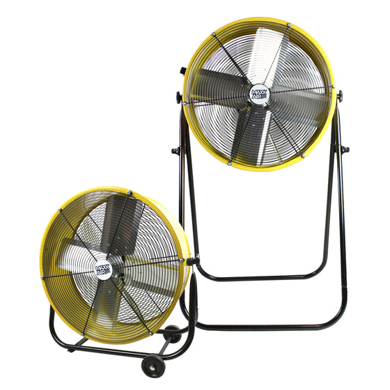 The 24 in. commercial tilt fan shown in both the floor and taller man cooler configuration.