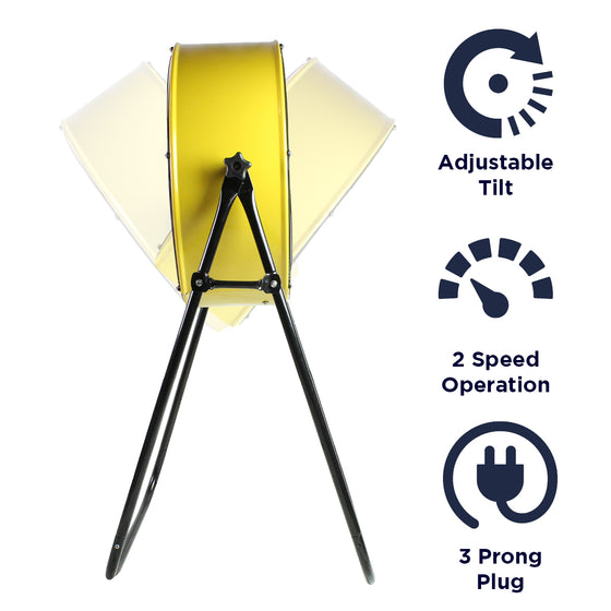 Features of the 24 in. industrial yellow 2N1 Tilt Fan include adjustable tilt, 2 speed operation,  and 3 prong electric plug.