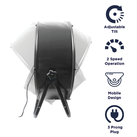 Features of the 24 in. tilt fan include 2 speed operation, mobile design, and 3 prong electric plug.