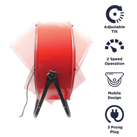 Features of the 24 in. shop fan include 2 speed operation, mobile design, and 3 prong electric plug.