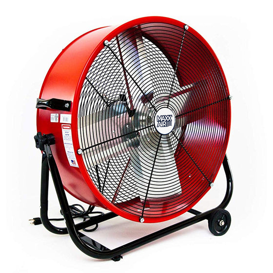 24 in. high velocity tilt fan in a powder-coated red finish, constructed with a heavy-duty powder coated steel housing.