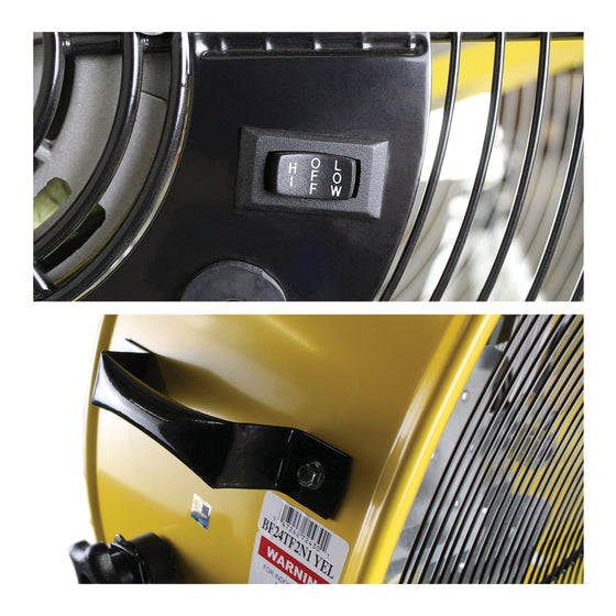 Detailed close-ups of the 2-in-1 industrial drum fan, including the rocker switch and built-in handle.