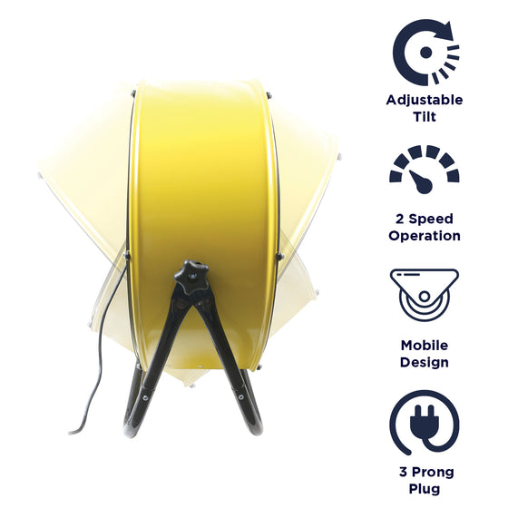 Features of the 24 in. yellow air mover include 2 speed operation, mobile design, and 3 prong electric plug.