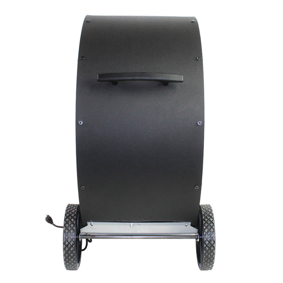 Left side profile view of the 30 in. air circulator with diamond tread wheels and handle for easy mobility.