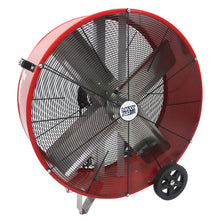 30 in. direct drive industrial fan with red powder-coated metal housing.