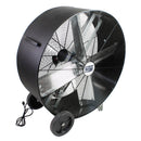 36 in. belt drive drum fan with heavy duty polyethylene housing in black finish.