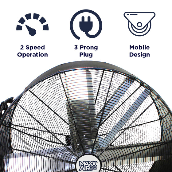 Features of the 36 in. belt drive fan include 2 speed operation, portable design, and 3 prong electric plug.