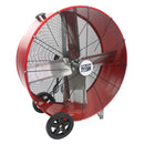 36 in. belt drive air circulator in powder-coated red finish.