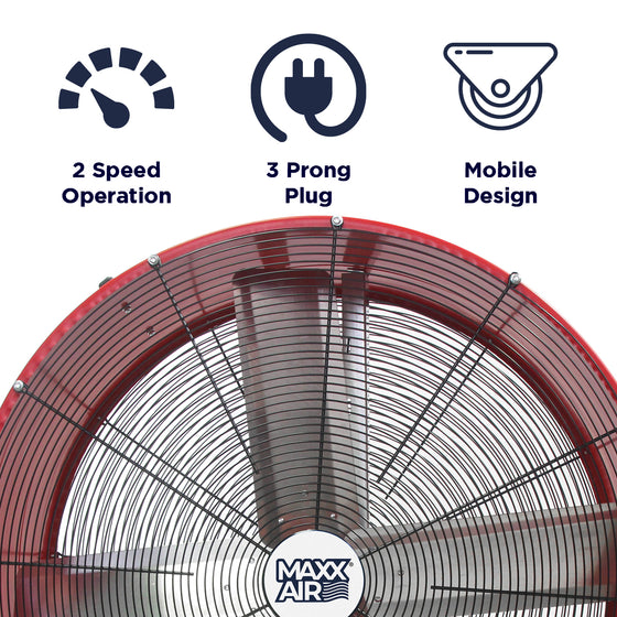 Features of the 36 in. red barrel fan include 2 speed operation, portable design, and 3 prong electric plug