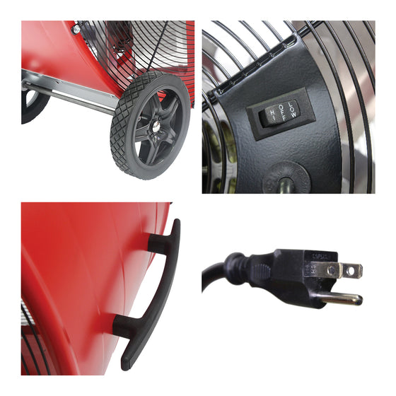Detailed close-up of built-in wheels and handle, rocker switch, and 3 prong plug.