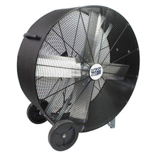 36 in. commercial grade direct drive drum fan with heavy duty polyethylene housing in black finish.