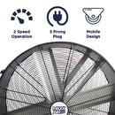 Features of the 30 in. polyethylene fan include 2 speed operation, portable design, and 3 prong electric plug.