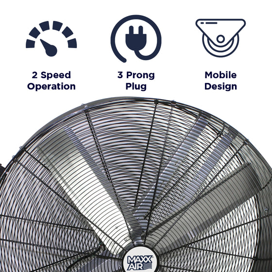 Features of the 42 in. belt drive fan include 2 speed operation, portable design, and 3 prong electric plug.