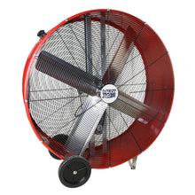 Large 48 in. drum fan constructed of heavy duty metal in a powder-coated red finish.
