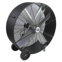 48 in. belt drive barrel fan with durable polyethylene housing in black finish.