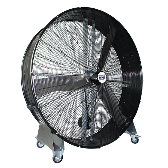 60 in. Pro series belt drive metal barrel fan in black finish with caster wheels.