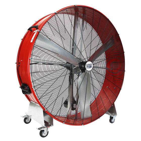 60 in. Pro series metal barrel fan in red finish with caster wheels.