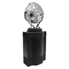 18 in. hi-pressure misting fan on 40 gal. black tank provides hours of cooling to prevent heat stress on the job or provide comfort in residential and commercial spaces.