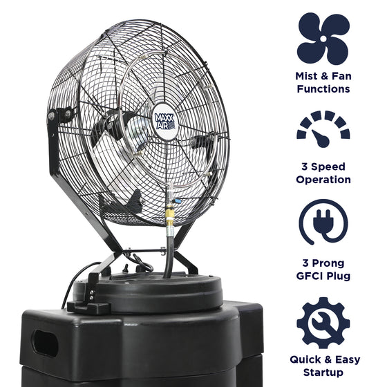 Features of the CDHP1840GRY include independent mist and fan functions, 3 speed operation, 3 prong GFCI electric plug, and quick and easy startup.