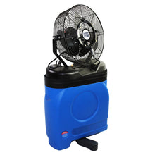 14 in. misting fan with blue rotomolded tank and foot base for added stability in operation.