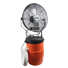 18 in. misting fan on 10 gal. orange tank with a mid-pressure pump and four misters for maximum fog output.