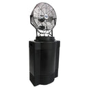 18 in. mid-pressure misting fan on 40 gal. black tank provides industrial grade cooling to alleviate heat stress on the job.