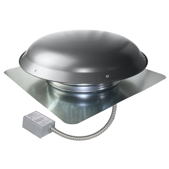 1,080 CFM roof mount exhaust fan in weathered gray finish showing the adjustable thermostat with conduit.